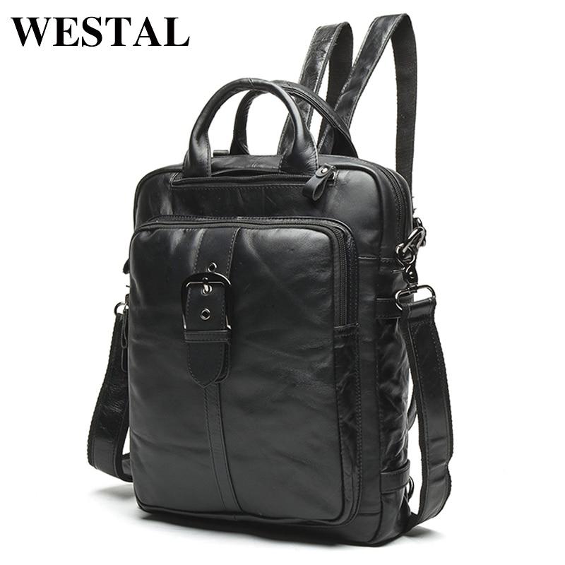 WESTAL Férfi Valódi bőr hátizsák Férfi laptop alkalmi férfi Messenger Női Hátizsák női Iskolai hátizsák férfiaknak 8863