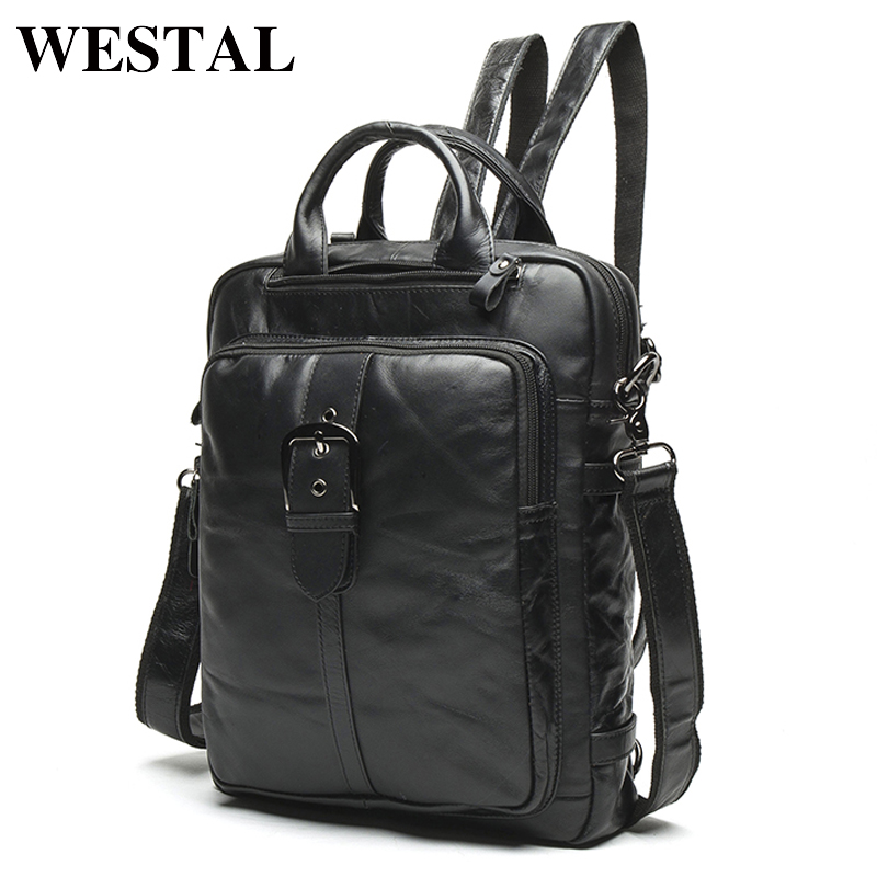 WESTAL Muškarci Pravi Koža ruksak Muški laptop povremeni čovjek Messenger Ženski Ruksak ženski Schoolbag Ruksaci za muškarce 8863