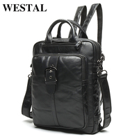 WESTAL Men Genuine Leather backpack Male laptop casual man Messenger Women Backpack female Schoolbag Backpacks for men 8863