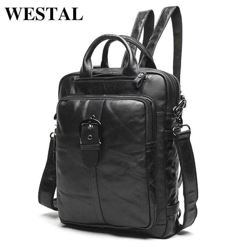 WESTAL Multi-functional Genuine Leather Men Backpacks Male Messenger Women Backpack female Schoolbag back pack Backpacks 8863