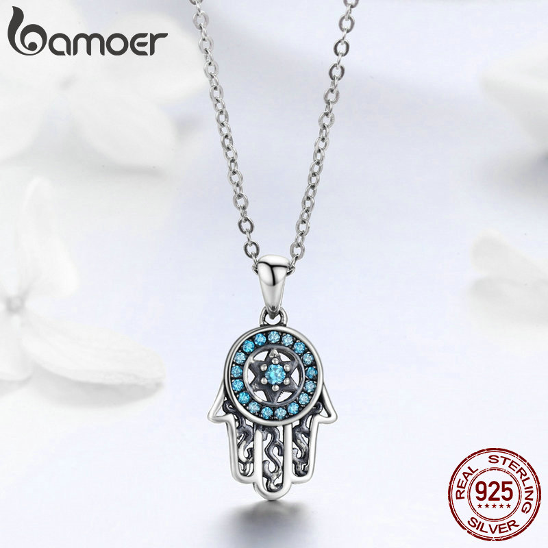 BAMOER Genuine 925 Sterling Silver Trendy Fatima's Guarding Hand Pendant Necklaces Women Fine Silver Jewelry Gift SCN264