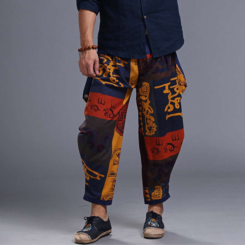 Men's fashion hip-hop loose cross pants harem pants pattern print waist loose loose pants casual X8