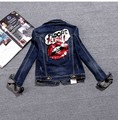 Casacos Denim Jacket Women Beaded Red lips Jeans Coat Long Sleeve Feminino Sequin Jacket Turn Down Collar Letters Denim Coats