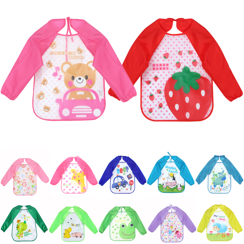 1PCS Newborn Baby Bibs Waterproof Shirt Baby Bib Cartoon Printed Long Sleeve Animal Toddler Scarf Feeding Smock Baby Accessories(China)