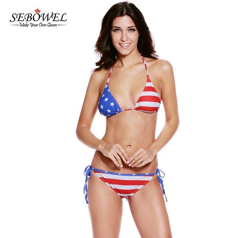 Sebowel Sexy American Girl Bikini Set American Flag -8361