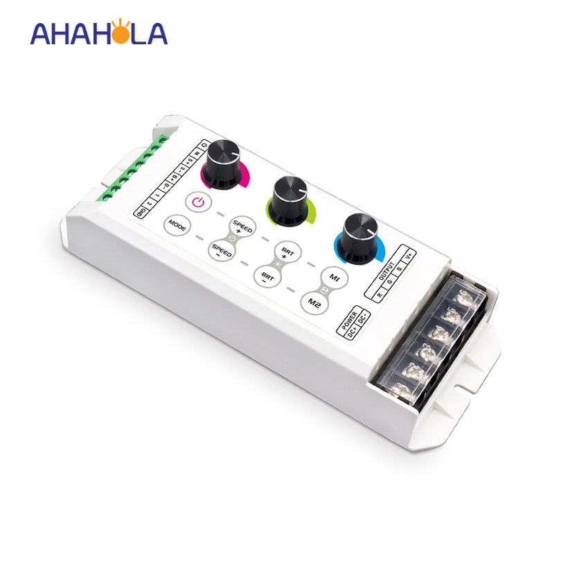 5 years warranty 3528 5050 rgb led controller dimmer dc 5-24v 8A 3 channel knob control led controller 25 modes mokungit 24ch easy dmx512 rgb decoder dimmer controller ws24luled dc5 24v 24 channel 8 group each channel max 3a