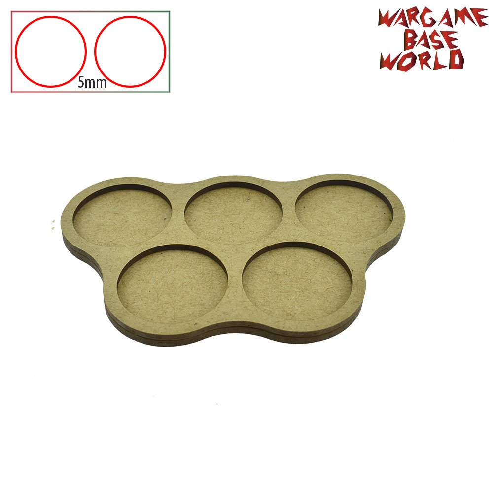 Wargame Base World - Movement Tray - 5 Round 40mm - Derangements Shape MDF