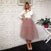 2017 Spring Fashion Skirts Womens Summer Jupe High Waist Tutu Adult Long Tulle Skirt Women Summer