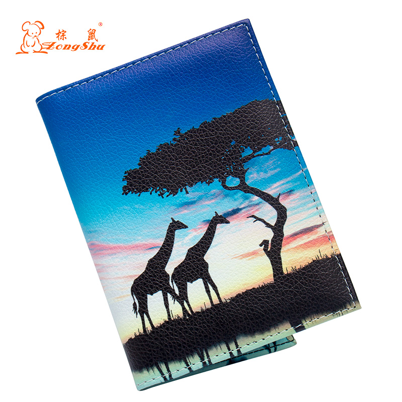 Giraffe Grassland Color Mixing Fashion Soft Passport Holder Built In Rfid Blocking Protect Personal Information Warm And Windproof Coin Purses & Holders