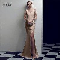 weiyin Cheap Price Elegant Crystal Champagne Mermaid Long Evening Dresses 2018 Prom Party Dress Robe De Soiree Longue WY1023