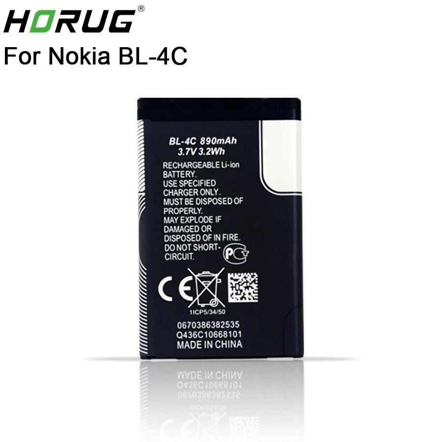 2018 neue HORUG 100% Original BL-4C Handy-akku Für Nokia BL 4C BL4C BL-4C 5100 6100 1202 1265 1325 Ersatz BL 4C batterie