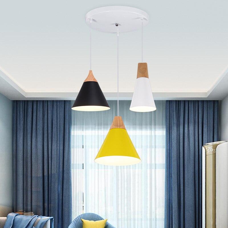 Nordic Modern Colorful Wood Pendant <font><b>Lamp</b></font> for Restaurant Bar Dinning Room E27 110V 220V Pendant Lights For <font><b>Decor</b></font>