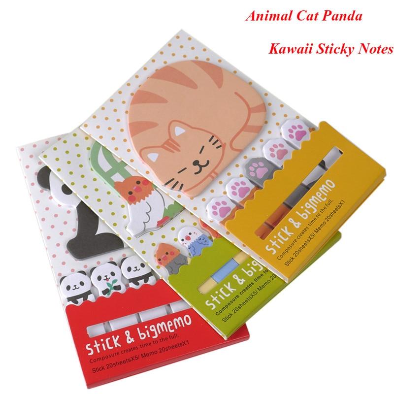 Dier Kat Panda Leuke Kawaii Memoblaadjes Post-it Memo Pad - Notitieblokken en schrijfblokken bedrukken - Foto 1