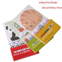Animal Cat Panda Cute Kawaii Sticky Notes Post It Memo Pad Школьные принадлежности Планировщики Наклейки Бумажные закладки Корейские канцелярские принадлежности