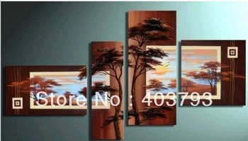 MODERN ABSTRACT HUGE WALL ART OIL PAINTING ON CANVAS africa landscape pine  tree   for decoration  no frame  free shipping