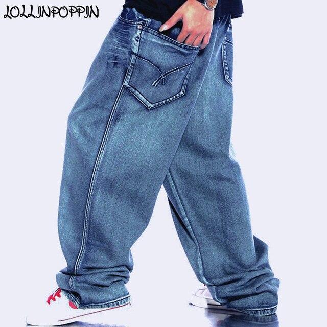 Calças de Ganga Largas dos homens Retro Do Vintage Vestuário Denim Lavado  Calça Skatista Hiphop Masculinos 41bfa577be2
