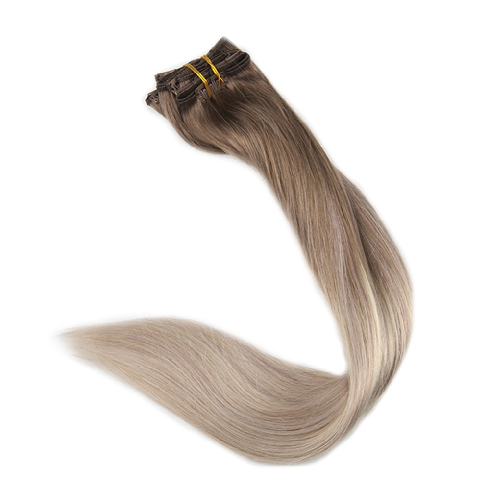 Full Shine Clip In Hair Ombre Extensions Human Hair Extension Remy Clip Balayage Color 8 Fading to 60 an 18 Ash Blonde 10Pcs