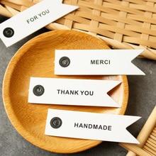 100 шт спасибо белые бумажные бирки DIY Свадебные ярлыки карты Мерси бумага для рукоделия бирка День рождения Подарочная Упаковка