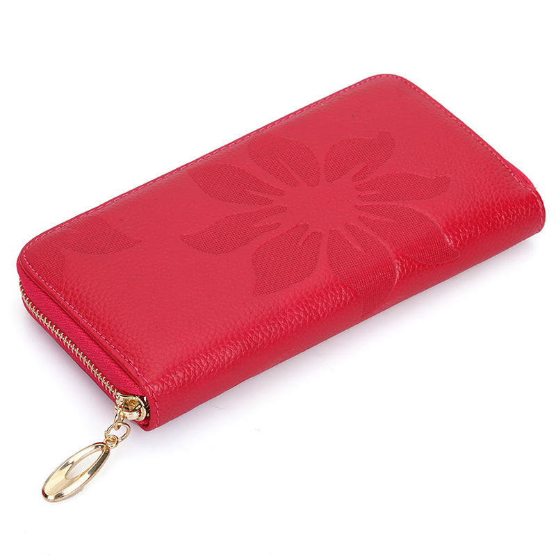 Genuine Leather Long Design Purse Women Wallet New First Layer Of Cowhide Female Wallets Zipper Flower Soft Carteira Feminina new head layer cowhide purse female butterfly skin carving bag long wallet retro handbag leather lady purse