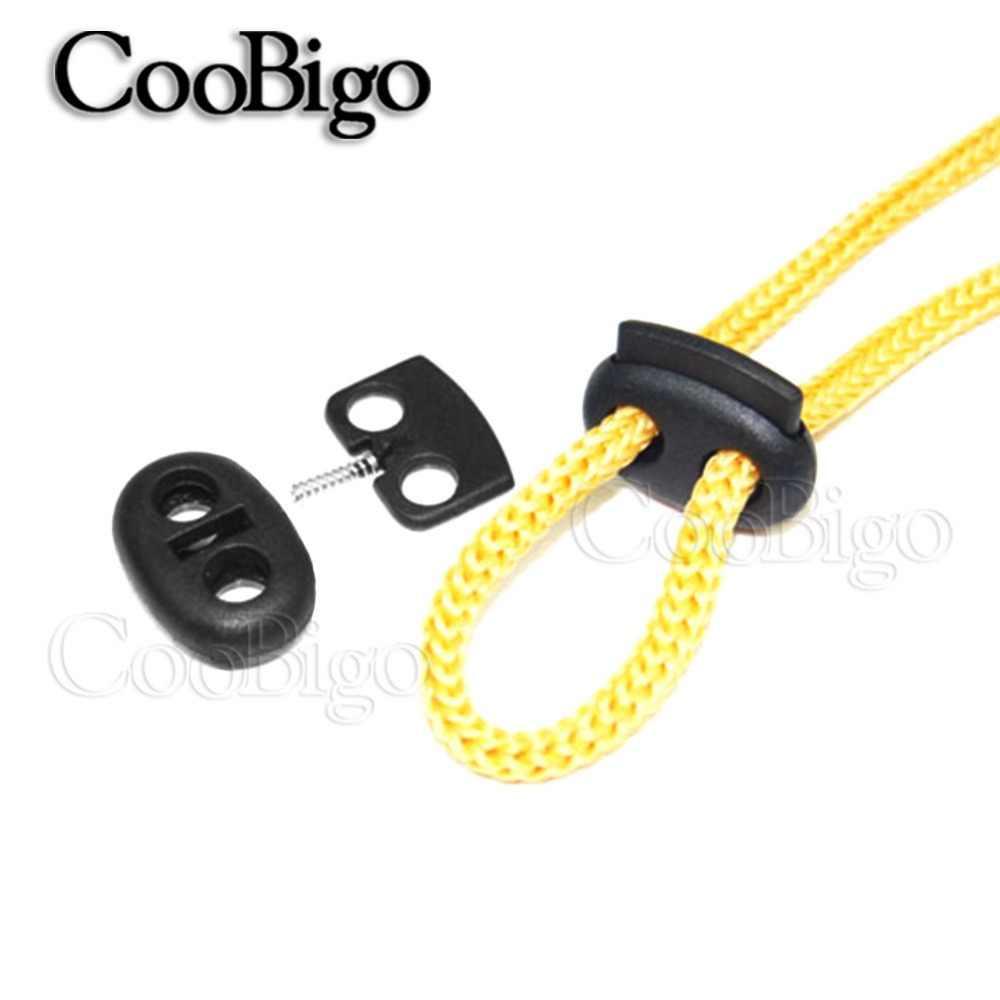10pcs 5mm HOLE พลาสติก Stopper ล็อคสายไฟสายไฟ End Bean สลับสีดำเครื่องแต่งกายเชือกผูกรองเท้ากระเป๋าเป้สะพายหลังกีฬาอุปกรณ์เสริม
