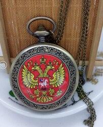 Новые горячие продажи бронзовые серебряные большие размеры российские национальные карманные часы ожерелье пентант женский мужской подар...