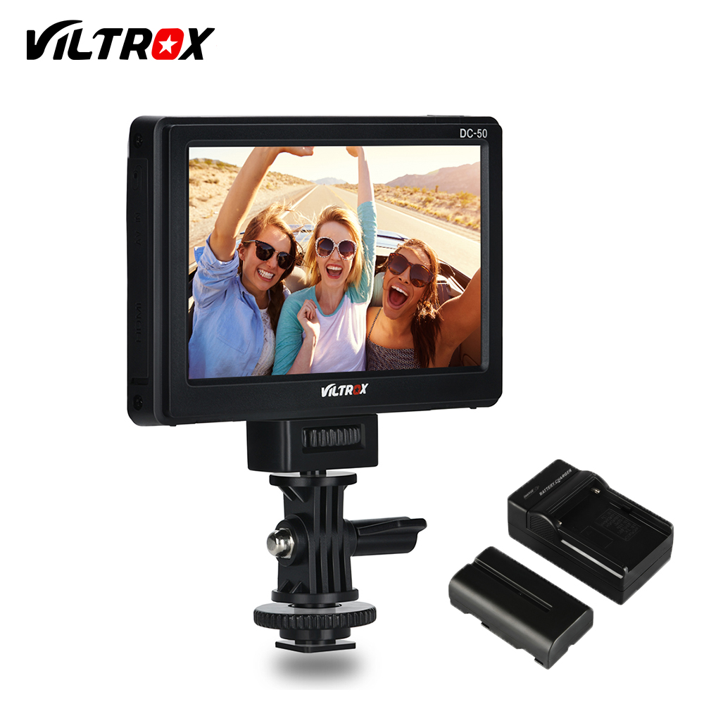 Viltrox DC-50 Portable 5'' Clip-on LCD HDMI Camera Video Monitor+Battery+Charger for Canon Nikon Sony A7 A7SII A6500 A6300 DSLR meike mk d750 battery grip pack for nikon d750 dslr camera replacement mb d16 as en el15 battery