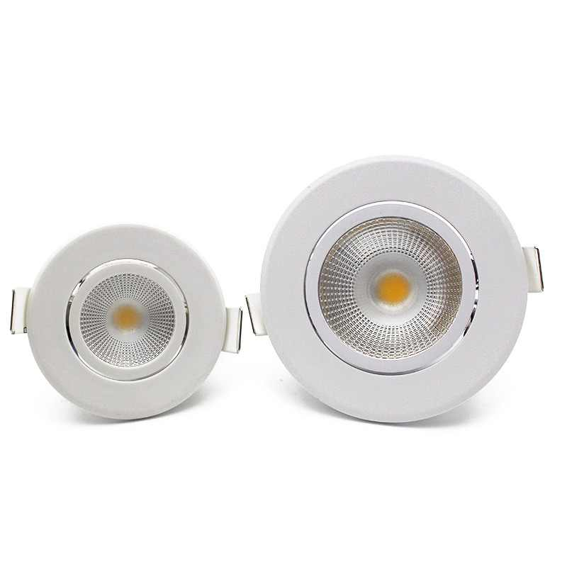 LEDIARY Round LED Recessed COB Downlights Ceiling Spot Lamp Real 3W 5W 100V-240V No Flicker Fixtures 2.2 Inch 55mm 75mm Cut Hole