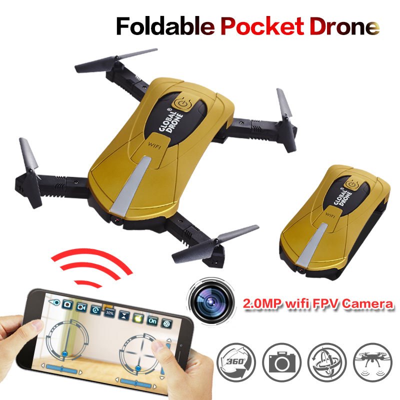 2017 hot Wifi FPV mini Quadcopter RC Drone with 2 0MP HD Camera Foldable Flight App