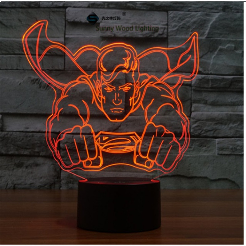 Superman touch switch LED 3D lamp ,Visual Illusion 7color changing 5V USB for laptop, desk decoration toy lamp