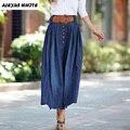 2017 Plus Size Mulheres Roupas de Verão Denim Saias Balanço Grande Saias Plissadas Maxi Moda Jeans Femininas S-5XL