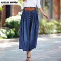 2017 Plus Size Women Clothes Summer Denim Long Skirts Big Swing Pleated Skirts Fashion Maxi Jeans Female S-5XL