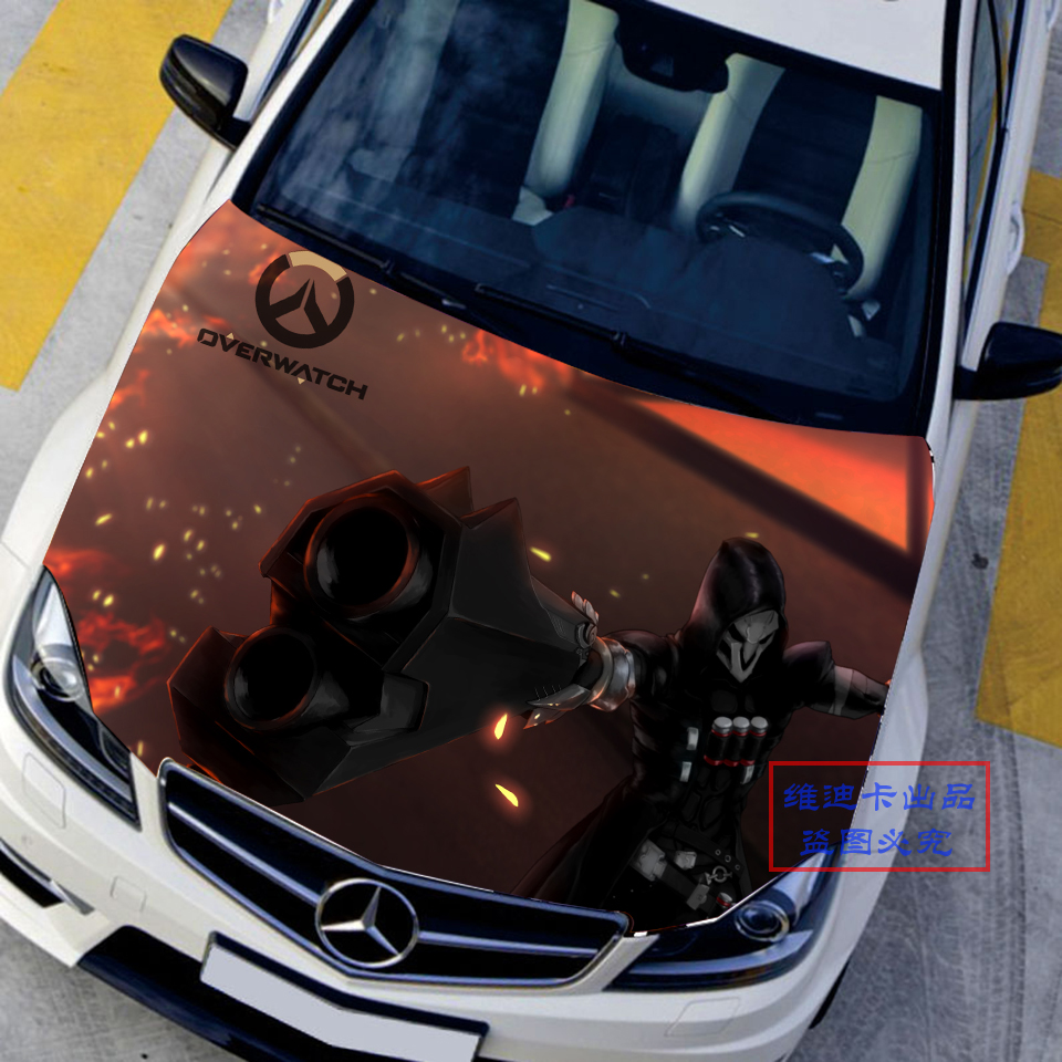Japanese car stickers decals 3d game overwatch reaper hood sticker auto roof gabriel reyes camouflage vinyl car accessories