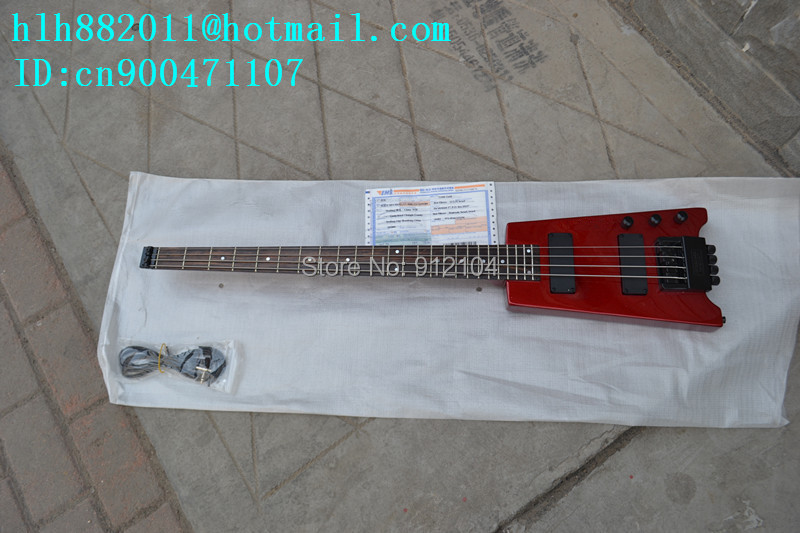 free shipping new  headless electric bass guitar in red made in China+foam box   1931 finish bass guitars electric chinese 5 string bass butterfly bass guitar free shipping made in china