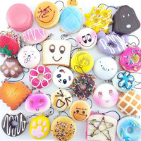 30Pcs Lot Slow Rising Squishy Squeeze Cute Soft Mini Bread Cake Ice Cream Phone Straps Kids