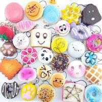 30Pcs Lot Slow Rising Squishy Squeeze Cute Soft Mini Bread Cake Ice Cream Phone Straps Kids