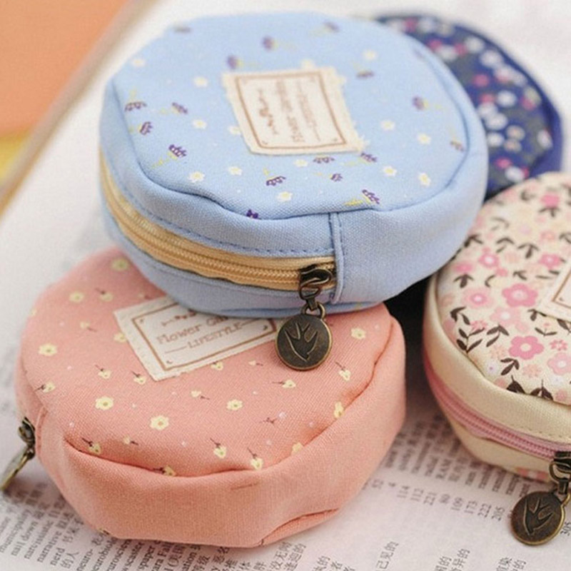 XYDYY Casual Girls Canvas Coin Purse Cylindrical Round Portable Women Female Canvas Handbag Coin Purse Wallet for Gift