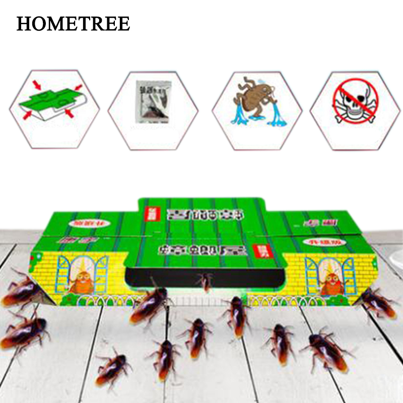 HOMETREE 10Pcs Cockroach Trap House Killing Insect Net Decoy Pest Control Black Beetle Indoor Sticky House Nontoxic Capture H56