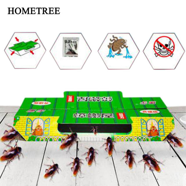 HOMETREE 10Pcs Cockroach Trap House Killing Insect Net Decoy Pest Control  Black Beetle Indoor Sticky House Nontoxic Capture H440