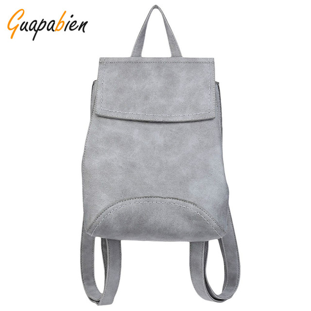 Guapabien 2016 Pure Fashion Hasp Solid Color Women Backpack High Quality PU Leather Adjustable Bag Girl School Travel Backpack