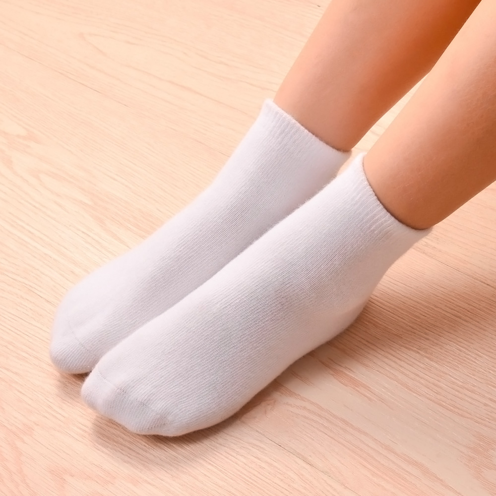 6Pairs/lot Kids Boys Ladies Cotton Above Ankle Sport Socks Mushy Sweat Plain Sew Athletic Socks Spring Autumn Winter White