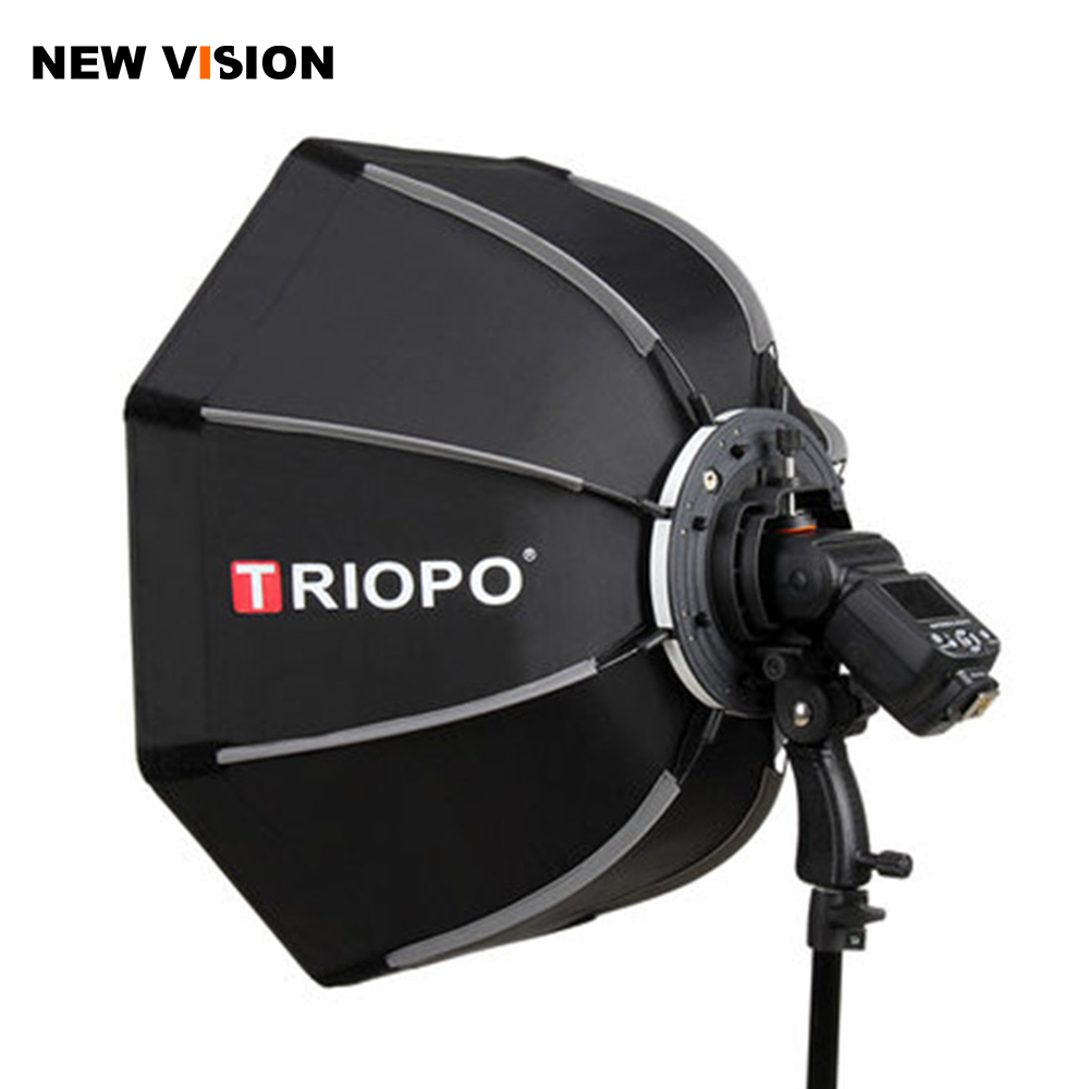 TRIOPO 55cm 65cm 90cm Foldable Octagon Softbox Bracket Mount Soft box Handle for Godox Yongnuo Speedlite