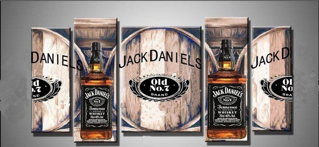 Free Shipping Handpainted Oil Decoration Abstract Painting Canvas Jack Daniels Wall Decor Jl