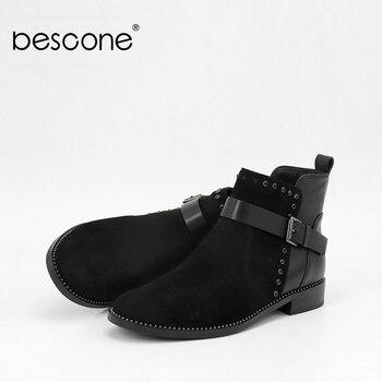 BESCONE/модные женские ботинки; Обувь из натуральной кожи с круглым носком на квадратном каблуке; Новинка; Удобные женские ботинки на низком ка