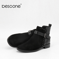 BESCONE Fashion Women Boots Genuine Leather Round Toe Solid Square Heel Shoes New Buckle Comfortable Low Heel Ladies Boots BL28