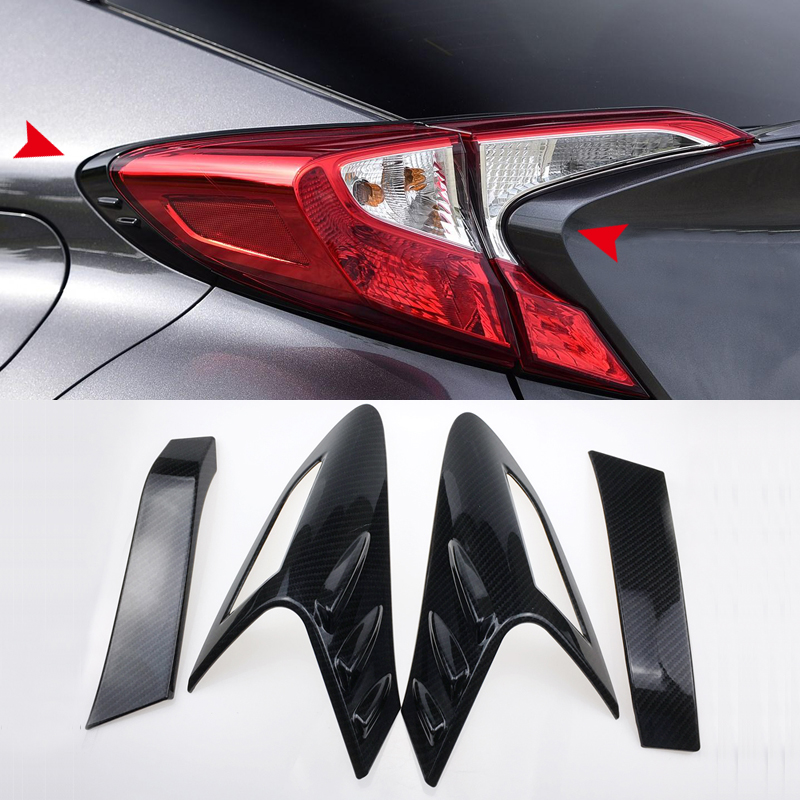 цена на Car Styling Accessories 4PCS ABS Rear Tail Light Lamp Eyebrow Cover Decoration Trim For Toyota C-HR 2016 2017 2018