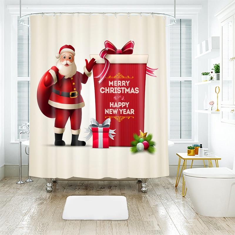 180*200cm 3D Shower Curtains Merry Christmas Red Cute Santa Claus Pattern Waterproof Fabrics Bath Curtain Home Bathroom Products