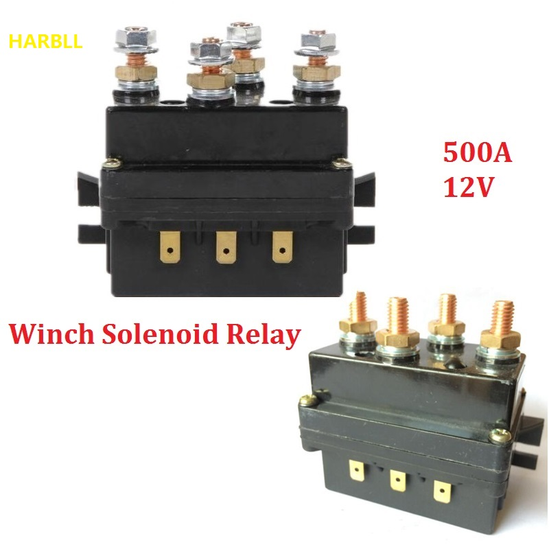 harbll 12v winch solenoid relay controller 500a dc switch 4wd 4x4 boat atv control-in car ... 4 warn winch solenoid wiring diagram 12v