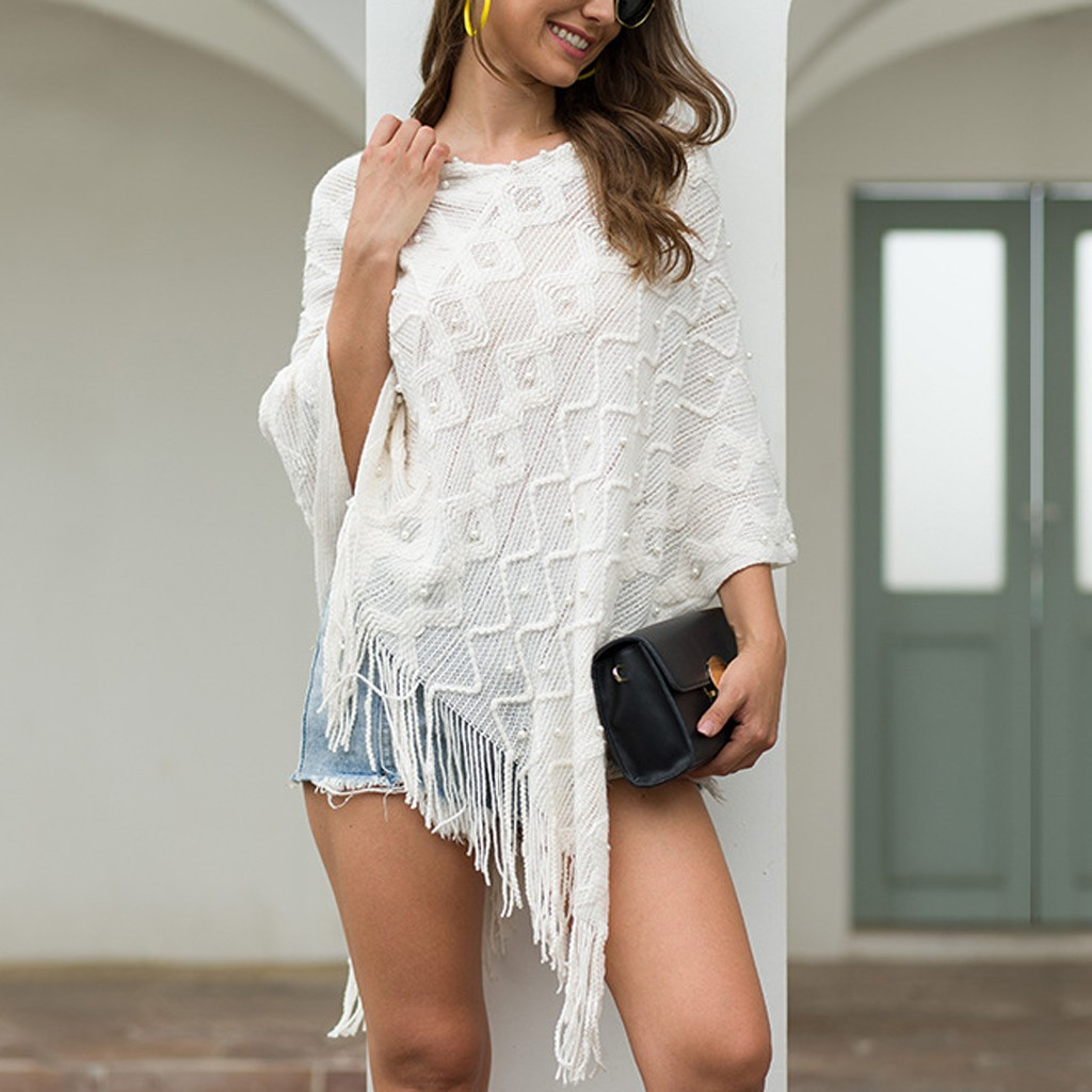 Women V-Neck Solid Beading Tassel Sweater Coat Loose Knitted Shawl Cardigan