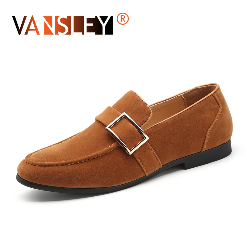 Men   Suede   Loafers Soft Moccasins Shoes   Leather   Casual Male Shoes Breathable Metal Button Wedding Dress Male Shoes Big Size 37-48