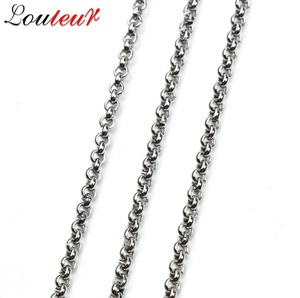 LOULEUR 2 Meters/lot 2/2.5/3/4/5mm Stainless Steel Women Men's Chain Necklace Bulk Chains for Diy Necklace Jewelry Making
